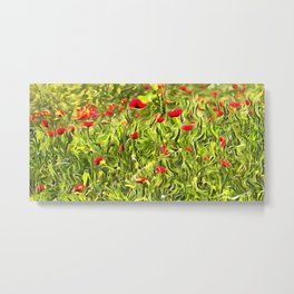 Surreal Hypnotic Poppies Metal Print