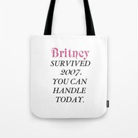 britney Tote Bags featuring Britney Survived, Britney. by eriicms