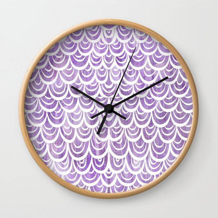 Watercolor Mermaid Amethyst Wall Clock