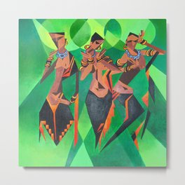 Three Ethnic Traditional Black Women Dancing Metal Print