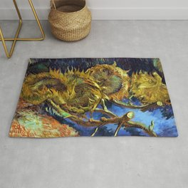 Four Cut Sunflowers - Auvers-sur-Oise Four sunflowers gone to seed by Vincent van Gogh Rug