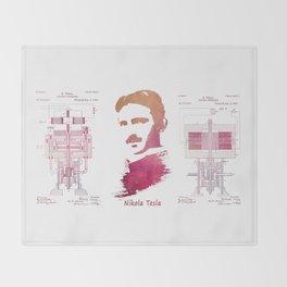 Nikola Tesla - Apparatus for aerial transportation Throw Blanket