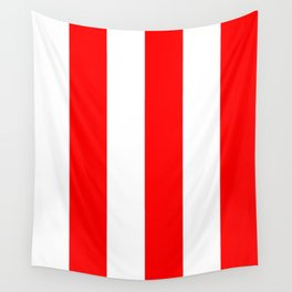 Wide Vertical Stripes - White and Red Wall Tapestry