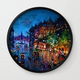 'Paris Boulevard' Night Scene Landscape Paitning by Konstantin Korovin Wall Clock