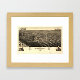 Vintage Bismark North Dakota Map (1883) Framed Art Print