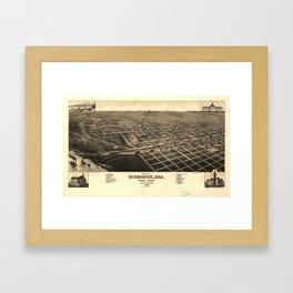 Vintage Bismark North Dakota Map (1883) Framed Art Print
