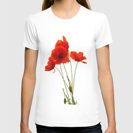 Delicate Red Poppies Vector T-shirt