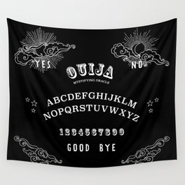 Ouija Board White on Black Wall Tapestry