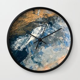 Wander [3]: a vibrant, colorful abstract in blues, pink, white, and gold Wall Clock