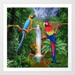 Macaw Tropical Parrots Art Print