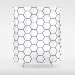 Geometric Honeycomb Pattern - Navy #278 Shower Curtain