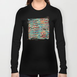 Goodbye Wave Abstract Art Collage Long Sleeve T-shirt