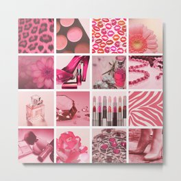 Pink & Girly Fashion Collage Metal Print