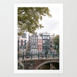 City Centre of Amsterdam, the Netherlands || Colourful travel photography wall art Cityscape Buildings Bridge Architecture Art Print