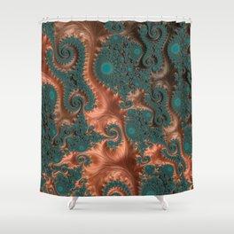 Copper Leaves - Fractal Art Shower Curtain