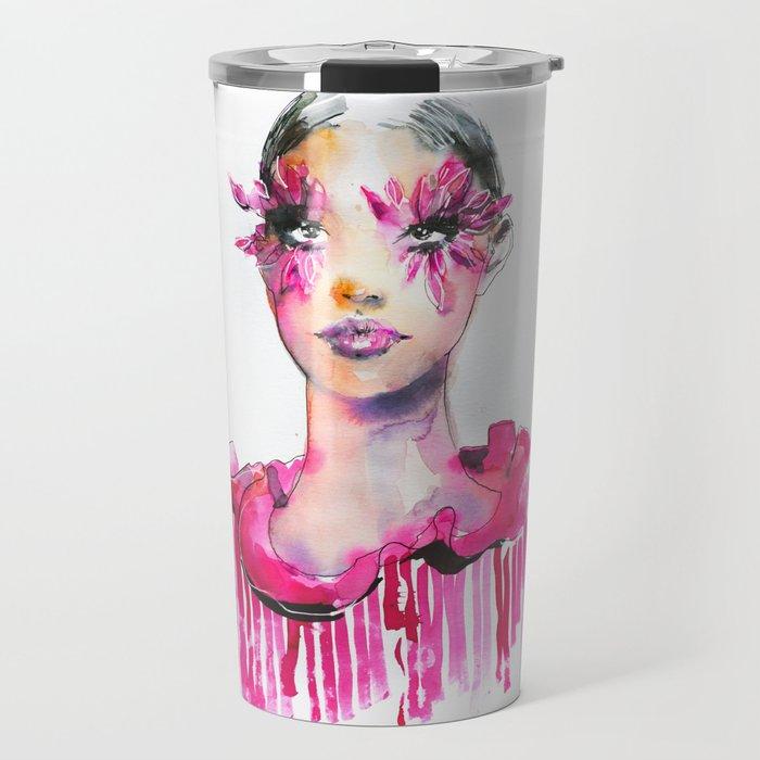 Pink feather Lashes. Valentino. Fashion illustration Travel Mug