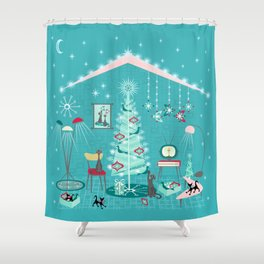Retro Holiday Decorating Shower Curtain