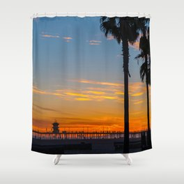 Palms and Zero at Sunset Shower Curtain