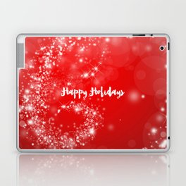 Modern stylish red white Christmas typography Laptop & iPad Skin