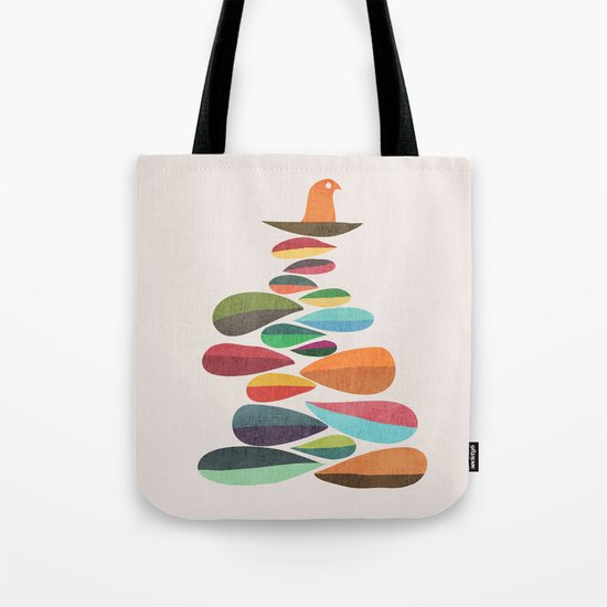 Bird nesting on top of pebbles hill Tote Bag