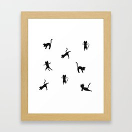 Yoga cats - black cats doing yoga Framed Art Print