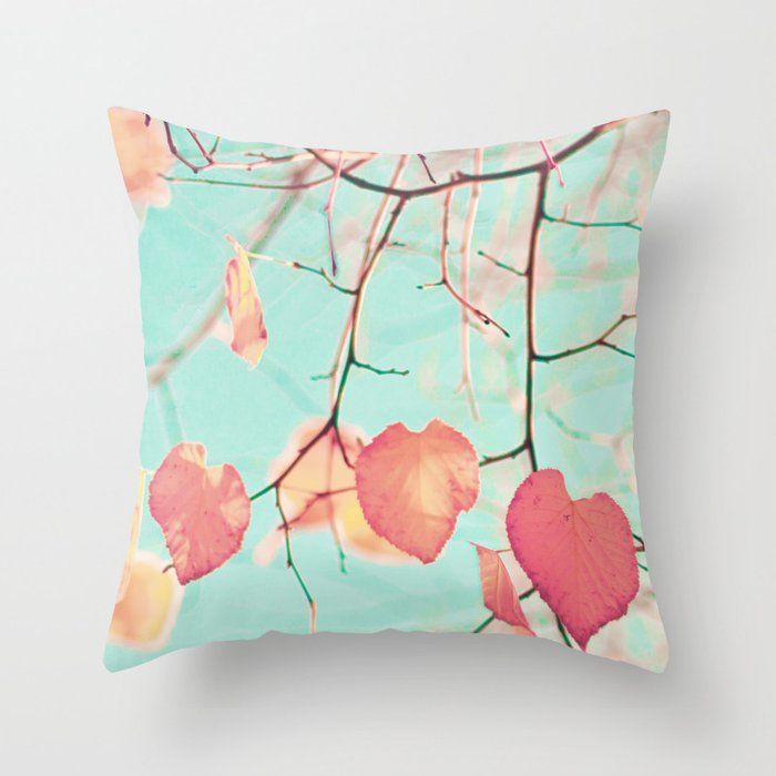 Pink fall leafs over pale blue Throw Pillow by andreka Society6