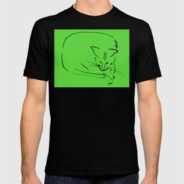 """Relaxing Cat on Soft Light Green """"Paper Drawings/Painting"""" T-shirt"""