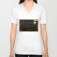bible V-neck T-shirts featuring Bible School Lesson #1 by serloren