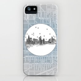 Chicago, Illinois City Skyline Illustration Drawing iPhone Case