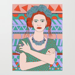 Girl with roses in her hair Poster