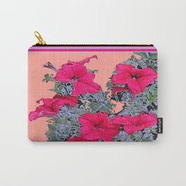 Sage Green Foliage Fuchsia-Pink Petunias Coral Color Art Carry-All Pouch