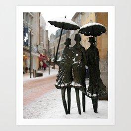 Umbrellas in the Snow Art Print