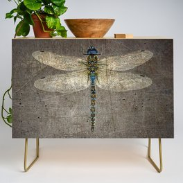 Dragonfly On Distressed Metallic Grey Background Credenza