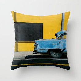 Rusty Blue Car and Yellow Wall Throw Pillow