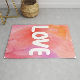 LOVE - typography watercolor painting Rug