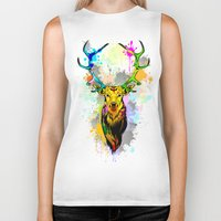 popart Biker Tanks featuring Deer PopArt Dripping Paint by BluedarkArt