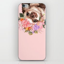 Baby Sloth with Flowers Crown in Pink iPhone Skin