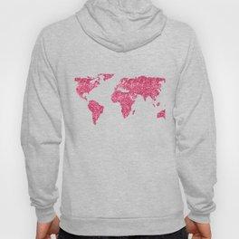 World Map Hot Pink Glitter Sparkles Hoody