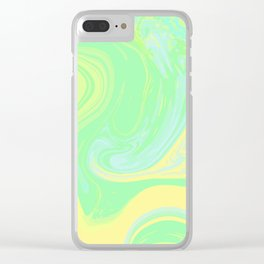 Lime Green Marble. Digital Suminagashi Liquid Color Abstraction Clear iPhone Case