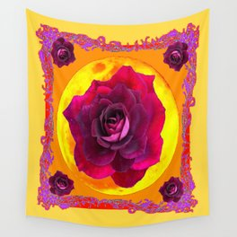 Romantic Purple Roses By Golden Moon Light Art Wall Tapestry