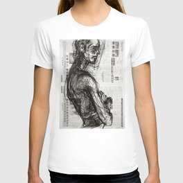 Waiting - Charcoal on Newspaper Figure Drawing T-shirt