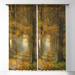 Early Morning Light, Autumn landscape painting by Max Ernst Pietschmann Blackout Curtain
