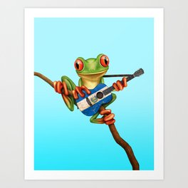 Tree Frog Playing Acoustic Guitar with Flag of El Salvador Art Print