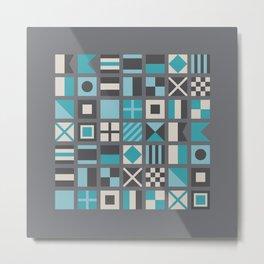 Nautical Flags Alphabet (Gray Background) Metal Print