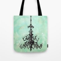 chandelier Tote Bags featuring chandelier by jennifer tough