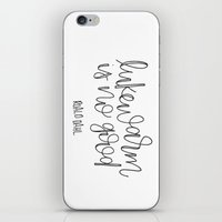 roald dahl iPhone & iPod Skins featuring Lukewarm Is No Good by Rad & Happy