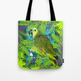 DECORATIVE GREEN PARROT JUNGLE GRAY-GREEN ART Tote Bag