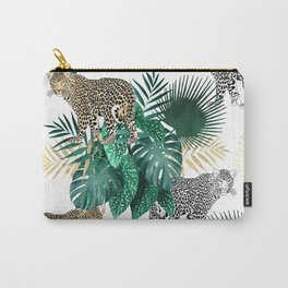 Modern leopard and tropical leaves design Carry-All Pouch
