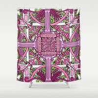 burlesque Shower Curtains featuring HELLENIC BURLESQUE by AZZURRO ARTS