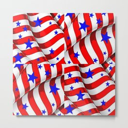 RED PATRIOTIC JULY 4TH BLUE STARS ART Metal Print